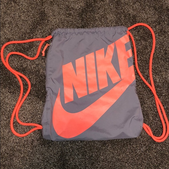 Nike Handbags - Drawstring Nike Bag/Sack in Grey/Coral